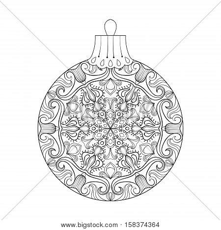 Vintage vector Christmas ball with mistletoe, New Year freehand decoration element. Artistic patterned illustration for adult coloring book pages. books, art therapy.