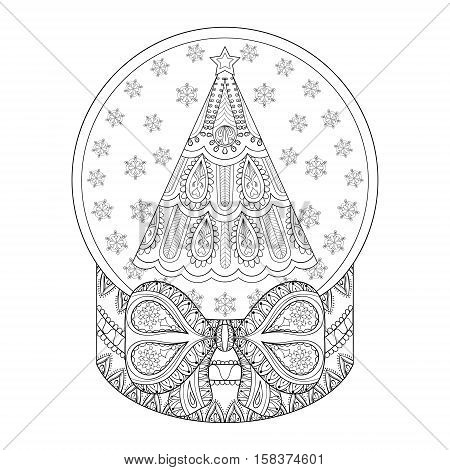 Vector zentangle snow globe with Christmas  tree. Hand drawn ethnic decorative snowglobe for adult coloring book. Illustration for New Year 2017, posters and greeting cards
