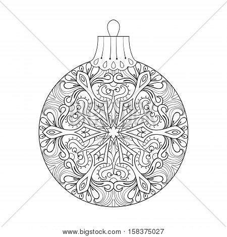 Vector vintage Christmas ball for tree, New Year 2017 freehand decoration element. Artistic patterned illustration for adult coloring book pages. books, art therapy. Winter symbol Isolated on white