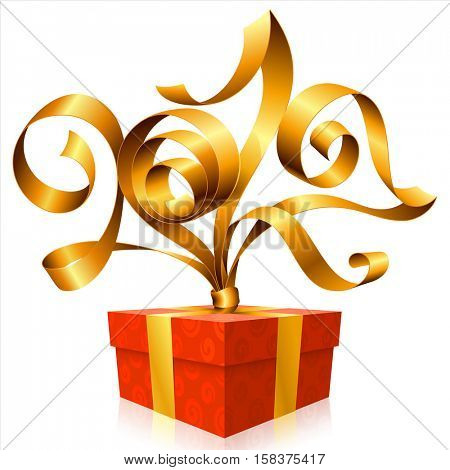 Vector golden ribbon and gift box isolated on white background. Symbol of New Year 2017