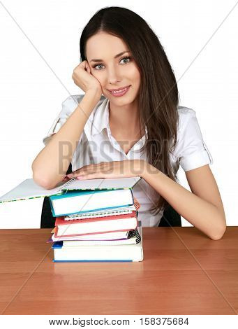 Female Student with a Stack of Books - Isolted
