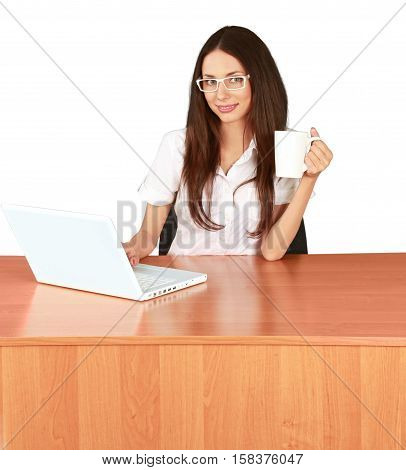 Female Student with Laptop and Mug - Isolted