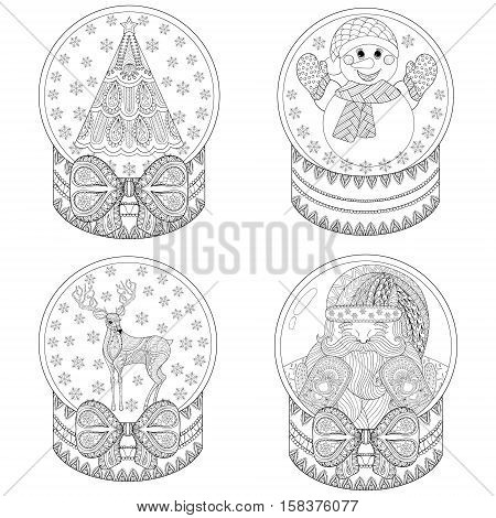 Vector zentangle snow globes with Christmas tree, Santa, snowmen, reindreer. Hand drawn ethnic decorative snowglobe for adult coloring book. Illustration for New Year 2017