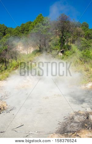 a big pool of toxic sulfur around the area of Benguet,Cordillera Region, Philippines