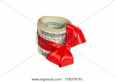 Christmas dollar cash present with red bow Isolated on white background