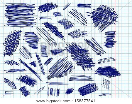 Scribble doodle vector. Big set or simple ink doodles. Pencil effect strokes collection. Sketch design elements. Notebook pen doodles. Scribbles for web design or printed products.