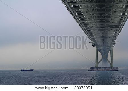 Akashi Kaikyo Bridge Spans The Inland Seto Sea.selective Focus.