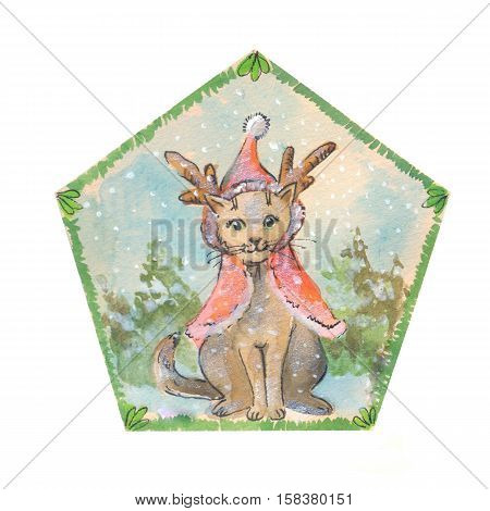Cute cat in cristmas clothes suit for sticker postcard childish goods.