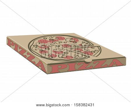 Stock vector design of boxes for pizza. Box with layout elements. Craft paper cardboard and sign illustration