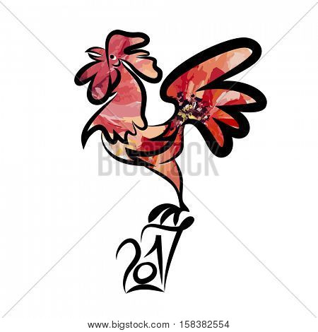Year 2017 of rooster chinese new year design graphic. Black line art sketch of cock with red watercolor fill. V