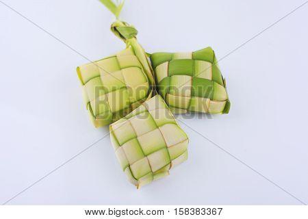 Ketupat (rice dumpling on white background) .