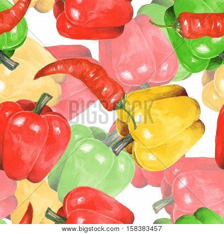 Pepper watercolor. Hand drawn seamless pattern 4