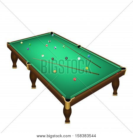 Billiard game balls position on a realistic pool table with cues. Vector illustration on a white background