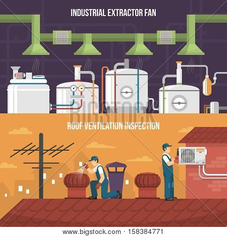 Conditioning and heating horizontal banners presenting ventilation inspection working on roof and industrial extractor fan flat isolated vector illustration