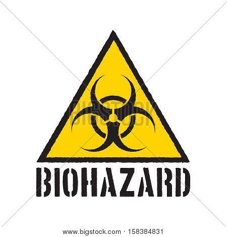Grunge biohazard symbol. Biohazard warning sign isolated.
