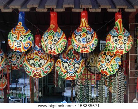 Colorful chinese souvenir in a market stall in Xi'An, Shaanxi province, China