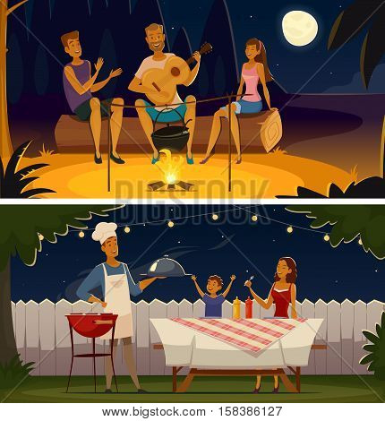 Summer night barbecue party 2 retro cartoon banners with grill festive illumination lights and moon isolates vector illustration