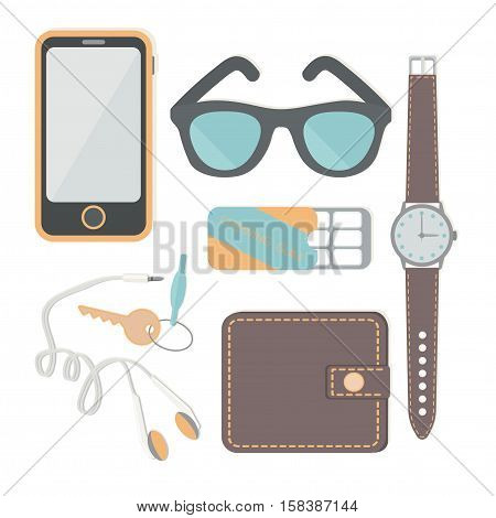 Things a man carries with him: a watch, a phone, headphones, keys, wallet, chewing gum, sun glasses, headphones. Vector illustration.
