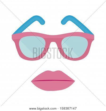 Plastic sun glasses and women's lips with lipstick. Vector illustration.