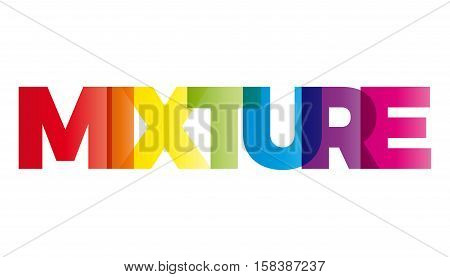 The word Mixture. Vector banner with the text colored rainbow.