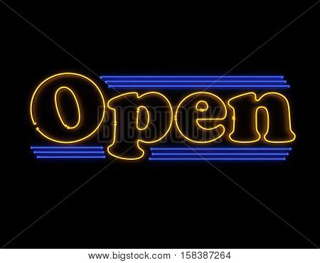 Open neon 3d render illustration sign isolated on black background