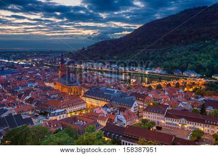 Heidelberg. Image of german city of Heidelberg during sunset.