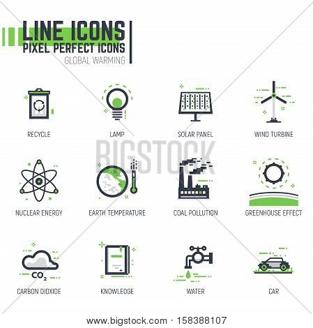 Set of pixel thick line style ecological icons. Global warming and climate change anthropogenic effect. Black and green colors with abstract lines and pixel dots.