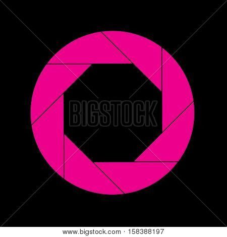 Magenta Shutter Vector Icon Isolated on Black