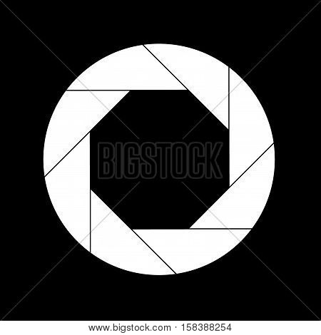 White Shutter Vector Icon Isolated on Black