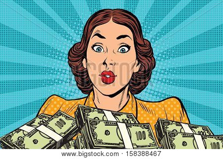 Retro girl and a lot of money. Pop art vector illustration. Business and Finance
