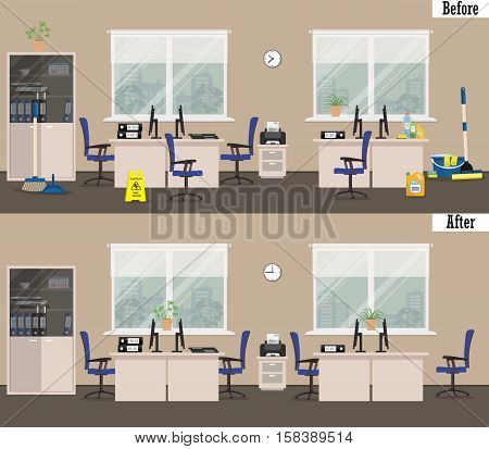 Office before and after cleaning. There is a room in beige colors and white furniture on a windows background in the picture. Vector illustration