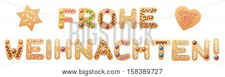 frohe weihnachten merry christmas in german language written with sweet cookies