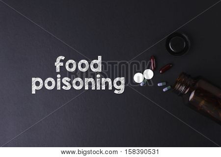Food Poisoning word with medicine and bottle - Health concept. Medical conceptual