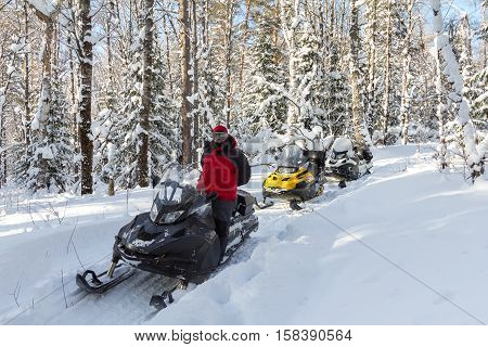 Three snowmobiles and a girl in winter birch forest.