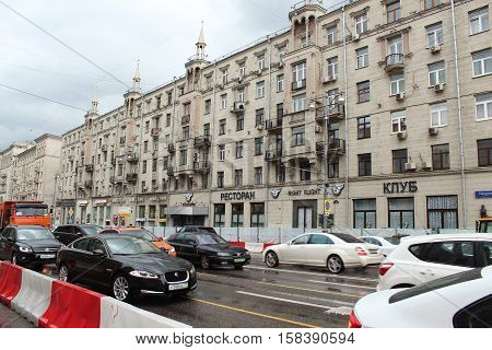 Russia, Moscow 22 May 2016, Repairs on Tverskaya Street. House 17