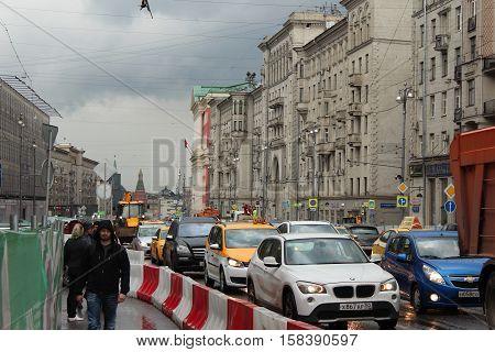 Russia, Moscow 22 May 2016, Repair work on Tverskaya Street in Moscow