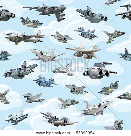 Cartoon military airplanes seamless pattern on clouds background