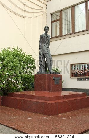 Russia, Moscow 22 May 2016,  sculpture of Anton Chekhov on the Kamergersky lane