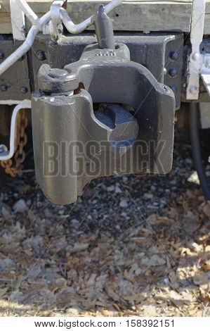 Railroad Caboose car coupling hitch on rear of train