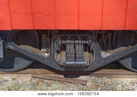 Railroad Caboose wheels and suspension system on caboose