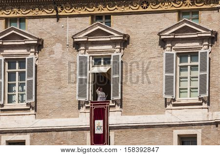 VATICAN CITY - MARCH 30: sunday Angelus made by Pope Francis on March 30 2014 in Vatican City