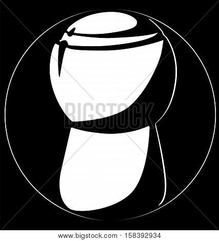 Champagne Cork Vertically Logo Black Background