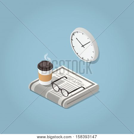 Isometric vector morning newspaper concept illustration. Daily news paper glasses for reading wall clock and hot morning coffee. Modern business lifestyle.