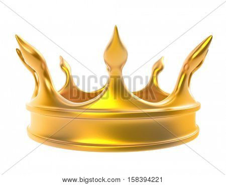 Golden crown isolated on white background. 3D rendering.