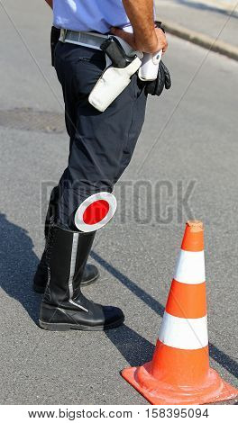 Policeman With Red Paddle Traffic