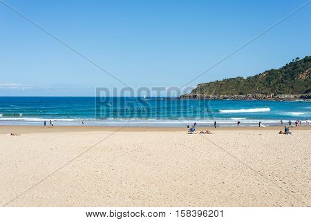 SAN SEBASTIAN, SPAIN  - OCTOBER 02. The beach la Zurriola in Donostia San Sebastian on October 02, 2016. The beach, situated at the district Gros of Donostia is famous for surfing, sports and relaxing