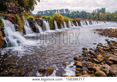 Venta waterfall. Beautiful waterfall in Latvia. Autumn.