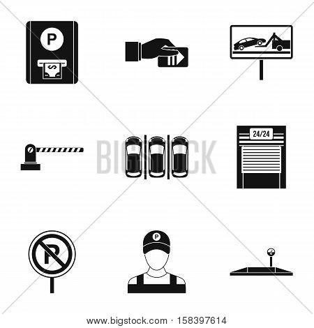 Valet parking icons set. Simple illustration of 9 valet parking vector icons for web