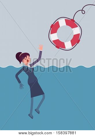 Giving a lifebuoy for drowning businesswoman. Cartoon vector flat-style concept illustration