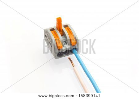 Compact splicing connector with connected wire isolated on white background. poster